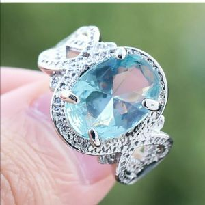 New sterling silver stamped blue aqua marine ring